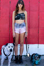 Shorts-black-round-vintage-quay-sunglasses-army-green-behoneybee-top