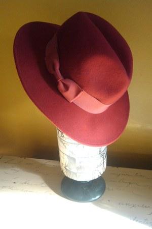 red wool fedora vintage hat