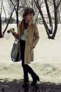 Pimkie-boots-worn-as-skirt-secondhand-dress-camel-zara-coat-hot-h-m-hat-