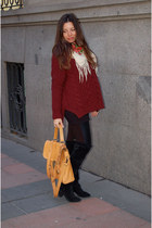 knitwear Zara sweater - 220V boots - leather H&M leggings - vintage scarf