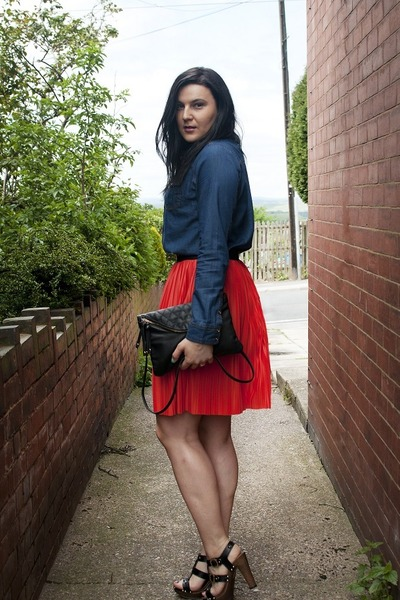 carrot orange Vero Moda skirt - navy wwwsheinsidecom shirt