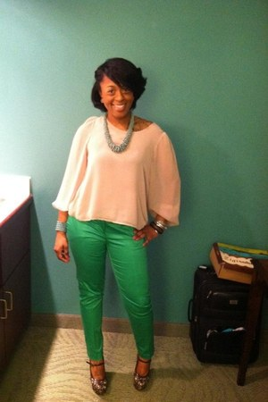 vintage necklace - Francesas Collection blouse - Jcrew pants - Zigi Soho wedges
