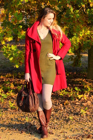 red Guess coat - olive green Topshop dress - beige tezenis tights