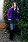 Black-house-of-harlow-boots-black-h-m-shirt-heather-gray-calzedonia-tights