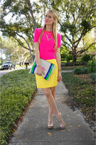 yellow Target skirt - eggshell Madison Elizabeth Co bag - nude Aldo heels