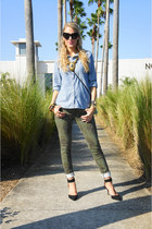 army green Paige jeans - sky blue chambray Old Navy shirt
