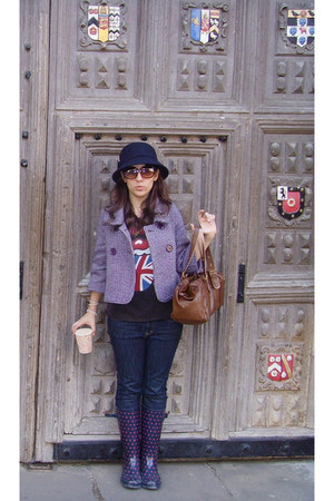 deep purple Camdem Town boots - amethyst Moonson coat - navy Uniqlo jeans - purp