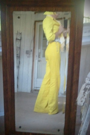 last kiss jacket - yellow trousers Anthropologie pants