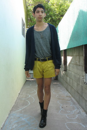black army boots - charcoal gray Forever 21 sweater - mustard Gap shorts