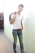 white H&M t-shirt - brown Target belt - blue Pac Sun jeans - silver Forever 21 g