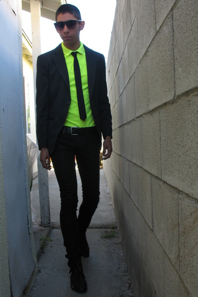 Men 39 s yellow neon express shirts black hare jeffrey for Express shirt and tie