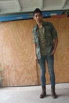 green Target t-shirt - shirt - blue Forever 21 jeans - brown Urban Outfitters bo