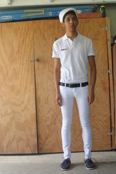 white Local Navy Exchange hat - white Gap shirt - black coach belt - white Forev