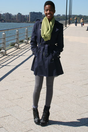 DIY scarf - Diesel boots - Zara coat
