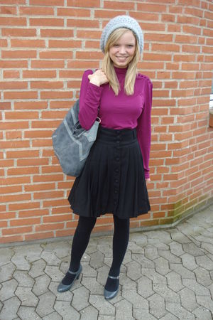 purple H&amp;M blouse - black H&amp;M skirt - gray H&amp;M hat - gray Dorothy Perkins purse 