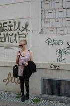 black H&M blazer - black tights - black Secondhand bag - black H&M necklace
