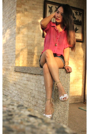 bubble gum semi sheer Self Made blouse - white Olivia wedges