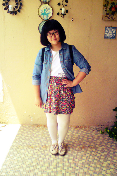 salmon Zara skirt - beige Topshop shoes - blue Forever 21 jacket