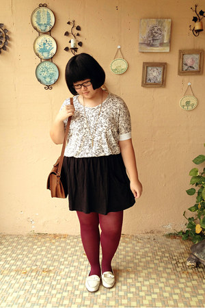 maroon Local Boutique tights - ivory miss whatever shoes - ivory vintage shirt