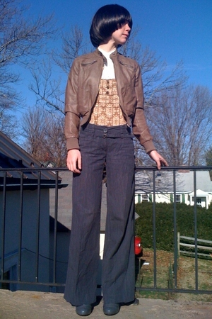 brown Forever21 jacket - gray H&M pants - white Forever21 blouse - brown Forever