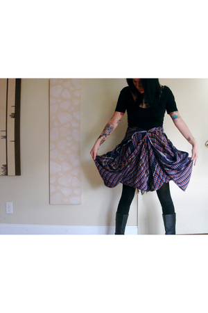 black American Apparel top - purple Hellz Bellz skirt - black American Apparel t