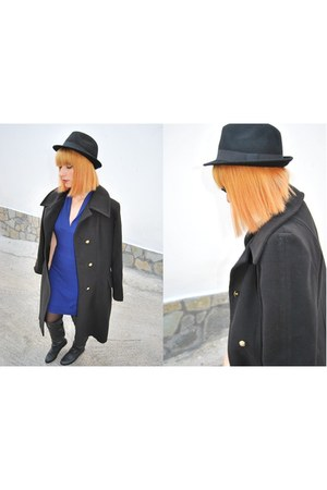 black Bellino coat - overknee fullah sugah boots - blue royal Bellino dress