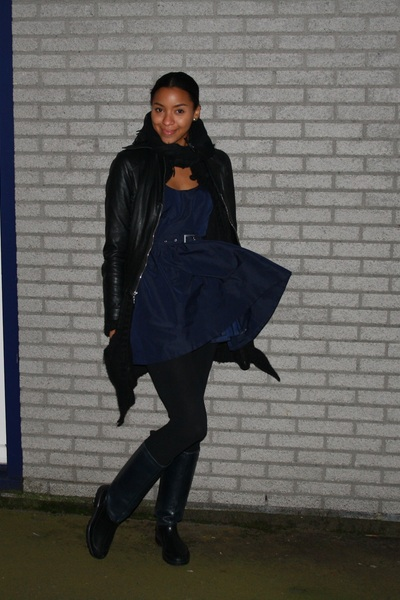 navy Pepe Jeans London dress - black Zara leggings - navy Zara boots - black unk