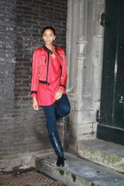 red H&M sweater - red Zara jacket - navy Only leggings - navy Zara boots
