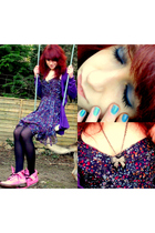 blue Urban Outfitters dress - purple H&M cardigan - pink doc martens boots - bla