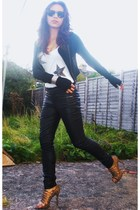 black Topshop jeans - beige Zara shoes - black crop zip H&M jacket
