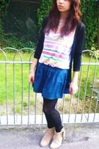Zara sweater - Zara top - Topshop skirt - Zara boots - We Love Colors tights - T
