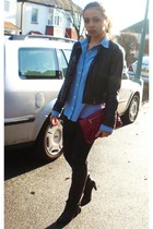 black Zara boots - black Mango jeans - black Topshop jacket - blue Ralph Lauren