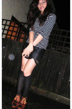 black Topshop skirt - black Zara socks - beige Zara blouse - orange Zara shoes -