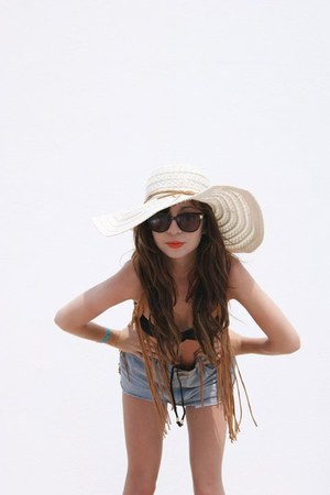 Republic hat - Beyond Retro shorts - Topshop swimwear - Primark cape