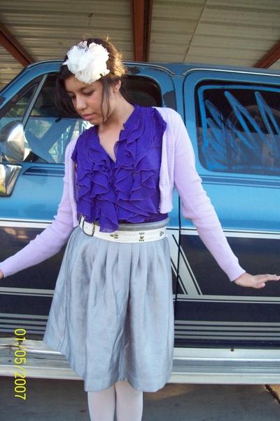 purple Ross sweater - purple Walmart top - silver Old Navy skirt - white belt -