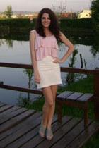 periwinkle random heels - white random skirt - light pink New Yorker top