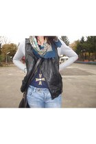 black Zara vest - periwinkle pull&bear jeans - dark brown New Yorker bag