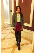 heather gray coat - black boots - white sweater - ruby red skirt