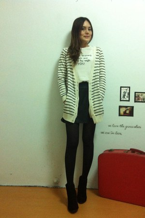 black boots - black tights - black skirt - white top - white stripped cardigan