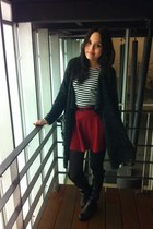 black boots - black tights - Red skirt - black top - grey cardigan