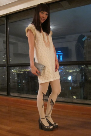white dress - silver Jimmy Choo bag - heather gray Chanel wedges