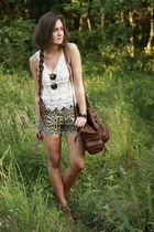 crimson romwe bag - light brown diy leopard second hand shorts - ivory crochet r