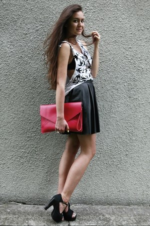 hot pink clutch romwe bag - white swallows handmade top - black leather handmade