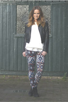 aztec Zara pants - Topshop boots - leather H&M Trend jacket - Zara jumper