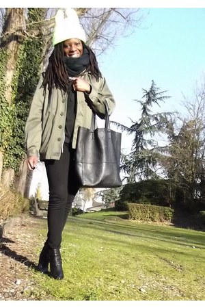 olive green military jacket gifted jacket - yellow neon ear cap Ebay hat
