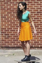 Orange High waisted cute skater skirt