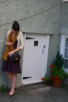 purple Urban Outfitters dress - gold vintage scarf - beige Topshop cardigan