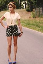 black modcloth shorts - blue Topshop shoes