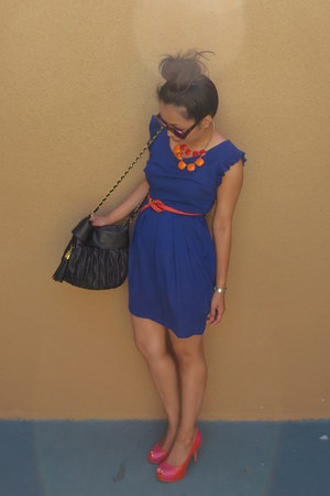 blue Forever21 dress - carrot orange belt