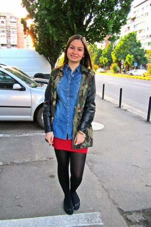 army jacket - denim Stradivarius shirt - red Stradivarius skirt